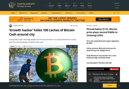 'Growth hacker' hides 100 caches of Bitcoin Cash around city