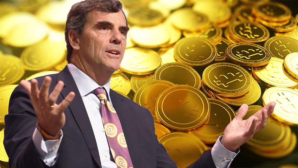 Picture of Tim Draper with bitcoins behind him
