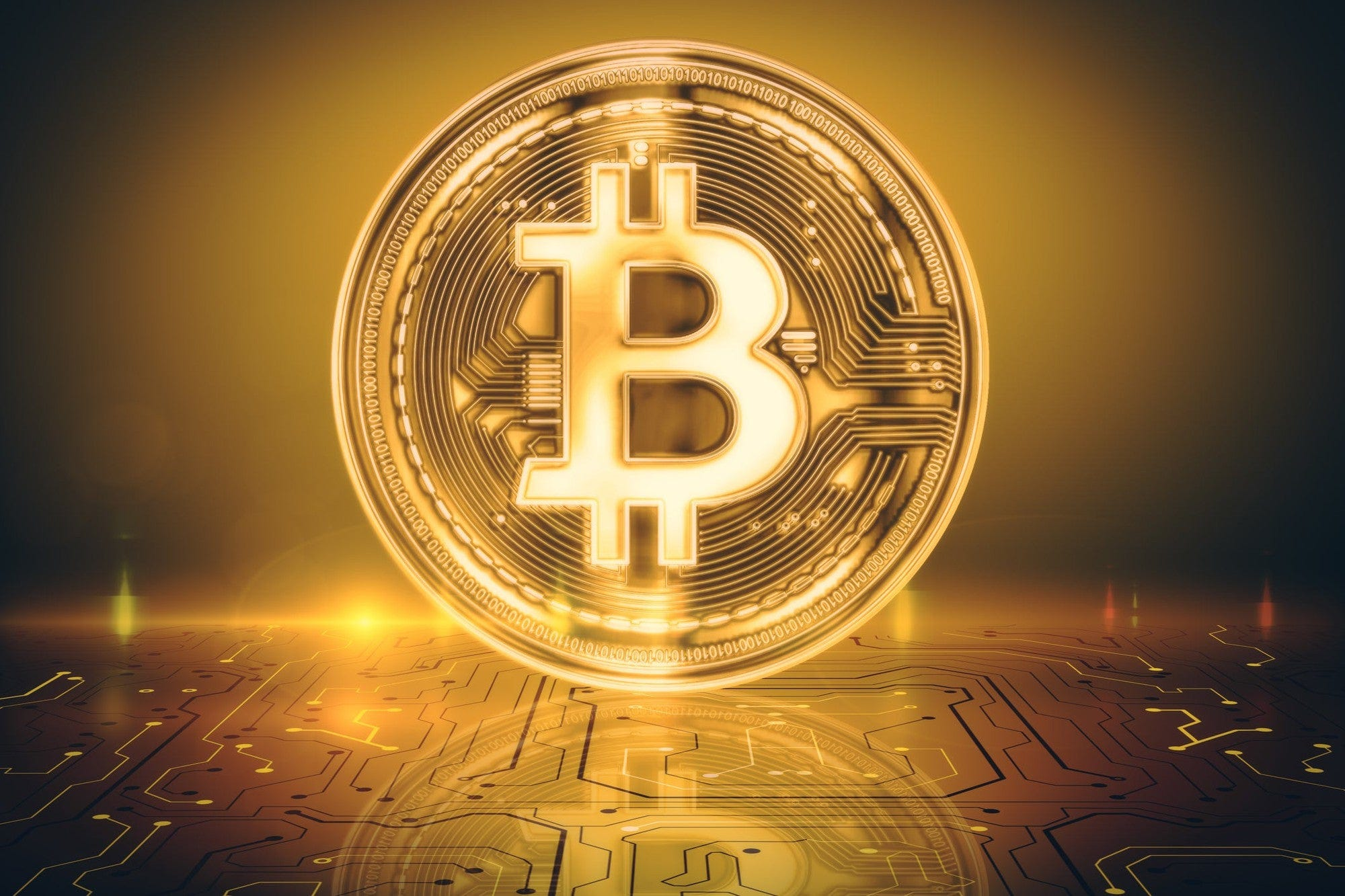 Picture of a standing gold bitcoin